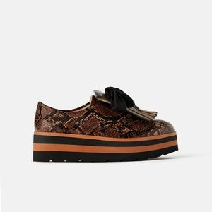 Zara Animal Print Platform Derby Shoes